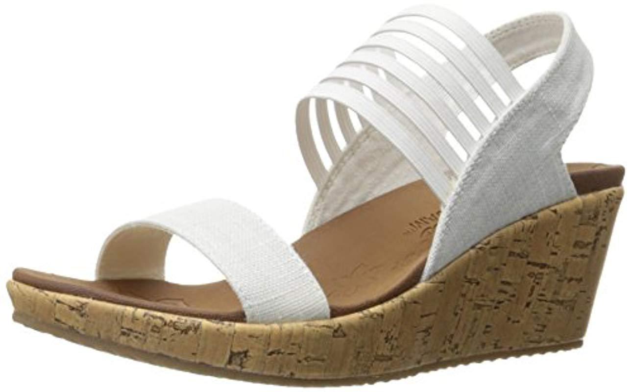 caa88afadfc073 Skechers Cali Beverlee Smitten Kitten Wedge Sandal in White - Lyst