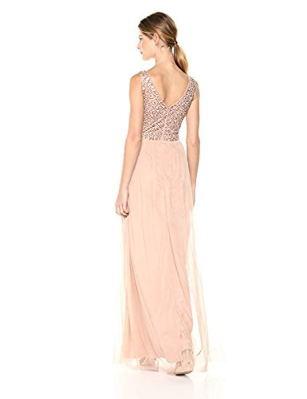 b935c54904e83 Lyst - Adrianna Papell Sleeveless Beaded Bodice Long Tulle Dress in Pink -  Save 57%