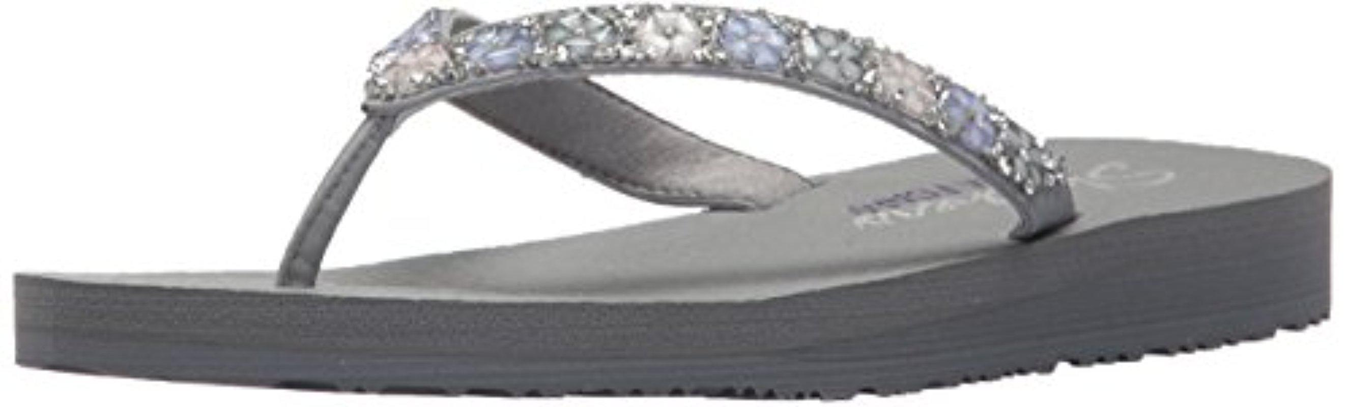 52345bcda61c Lyst - Skechers Meditation-daisy Delight Flip-flop in Gray
