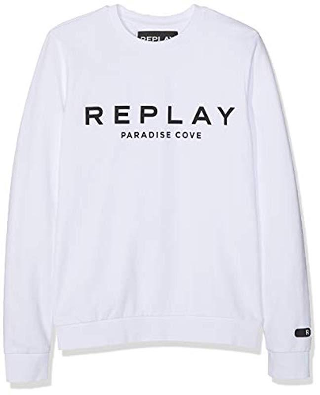5a6928a3b5e Replay M3801 .000.22390p Long Sleeve Sweatshirt in White for Men - Lyst