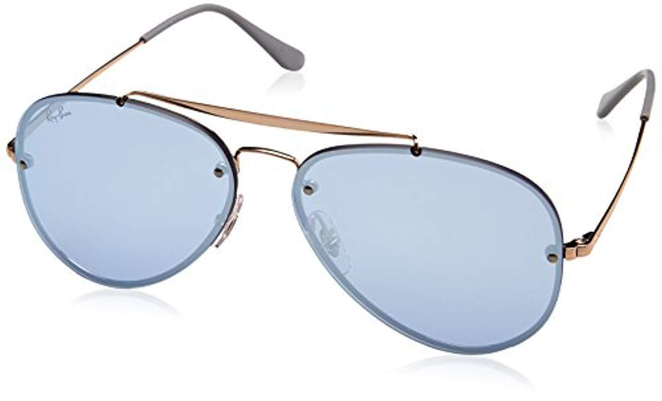 3a9c421d913 Ray-Ban Blaze Aviator Sunglasses In Copper Violet Silver Mirror ...