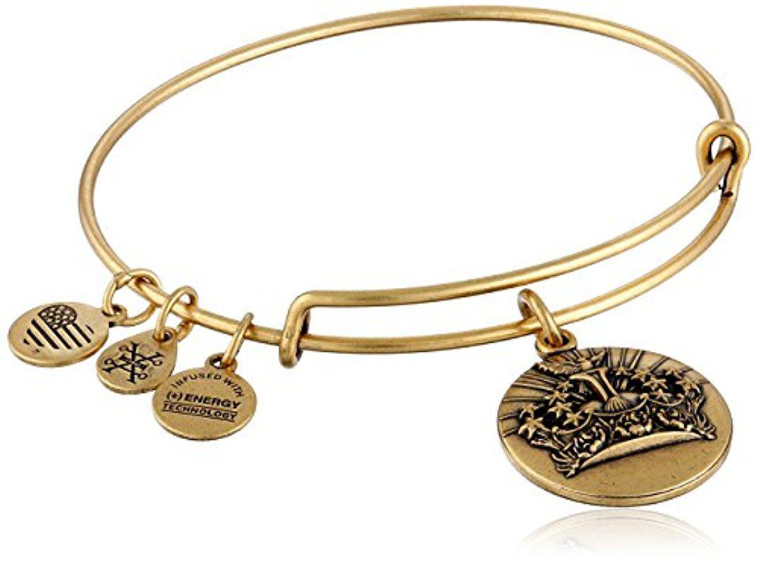 Alex and Ani Queen's Crown Expandable Charm Bracelet, Rafaelian Gold-Tone