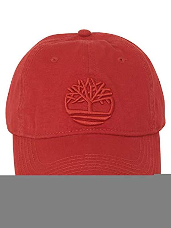 62043a0e859c3d Timberland Cotton Canvas Baseball Cap in Red for Men - Lyst