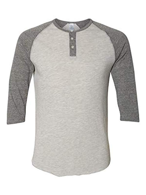 ab7e2572 Alternative Apparel - Gray Raglan 3/4 Sleeve Henley Shirt for Men - Lyst.  View fullscreen