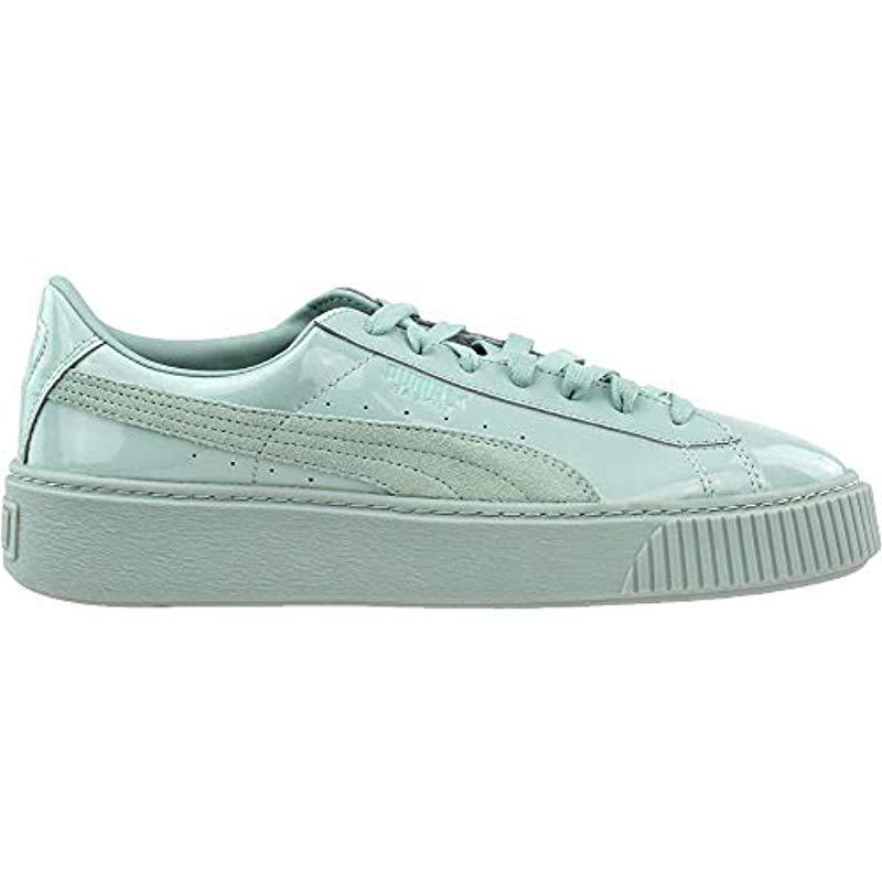 384ce87e1c3a PUMA - Blue Basket Platform Patent Fashion Sneaker - Lyst. View fullscreen