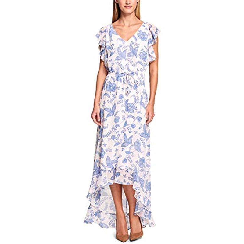 4429b09ea60 Lyst - Tommy Hilfiger Rivera Floral Chiffon High Low Dress in White