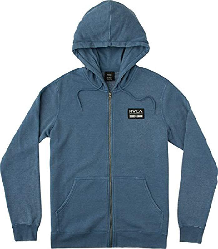 69b7a439c RVCA - Blue Hat Patch Zip Hoodie for Men - Lyst
