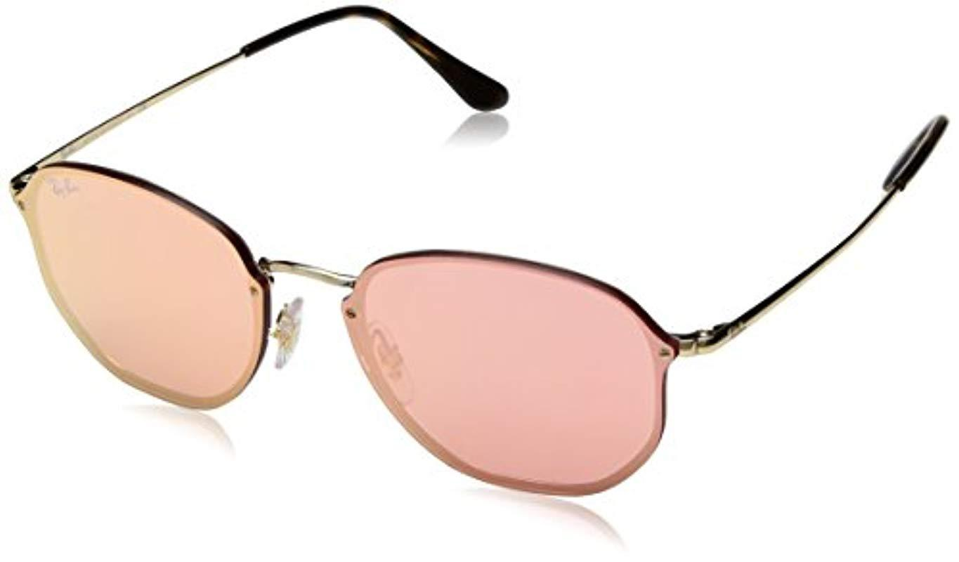 5cc1493383 Ray-Ban. Men s Black Blaze Hexagonal Sunglasses In Gold Pink Mirror Rb3579n  001 e4 58