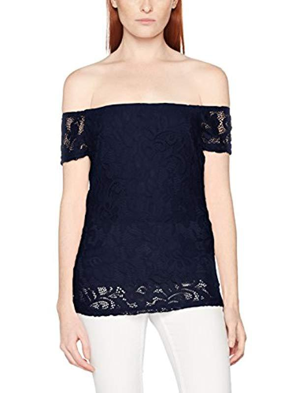 4b45938054b523 Dorothy Perkins Navy Lace Bardot Top Off-shoulder Blouse in Blue - Lyst