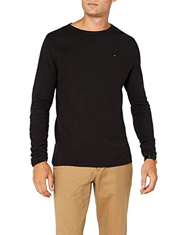 f4eb986f0dcaa0 Tommy Hilfiger Crew Neck Long Sleeve Top in Black for Men - Lyst