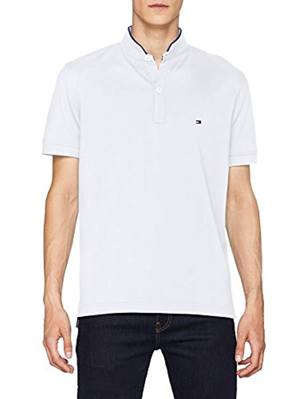 1832cff7cdecf Tommy Hilfiger Tipped Mao Collar Regular Polo Shirt in White for Men ...