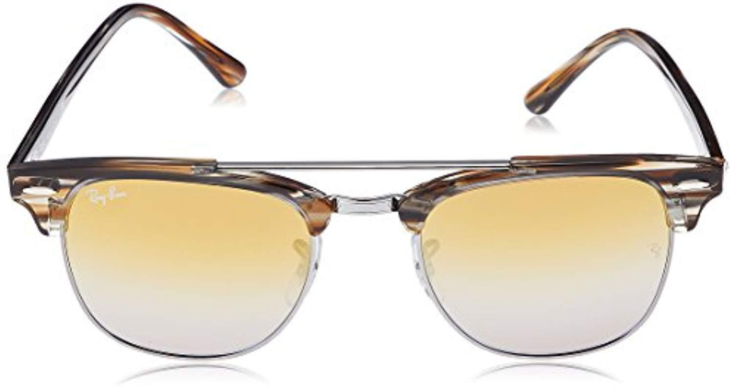 36f99744117 Ray-Ban - Clubmaster Double Bridge Sunglasses In Striped Brown Silver Brown  Mirror Rb3816 1238i3. View fullscreen