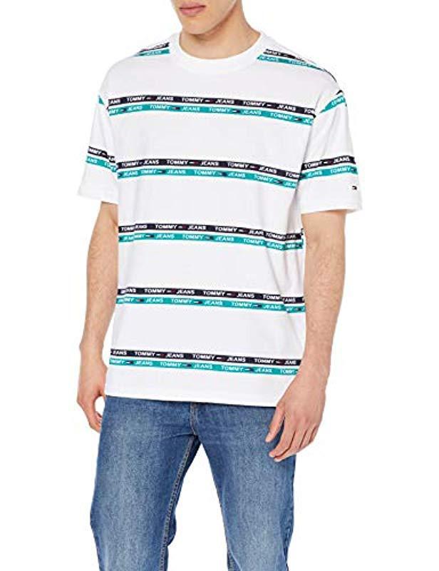 6fe9d588 Tommy Hilfiger Tjm Signature Stripe Logo Tee T in White for Men - Lyst