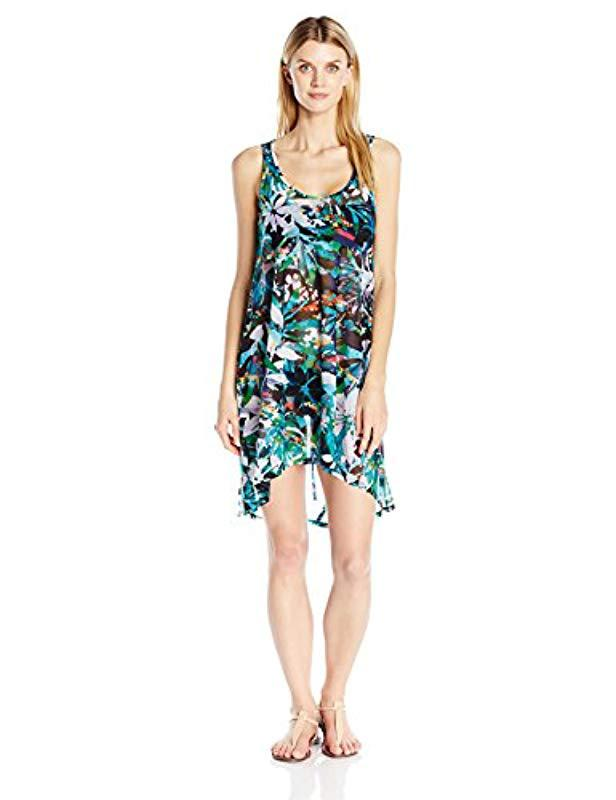 d8c583c9ad974 Lyst - Gottex Printed Scoop Neck Beach Dress Swimsuit Cover Up in Blue