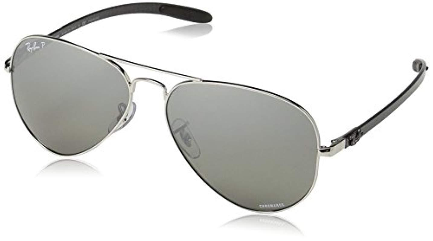 de991c1c7c Ray-Ban. Men s Black Chromance Aviator Sunglasses In Shiny Silver Gradient  Grey Mirror Polarised ...