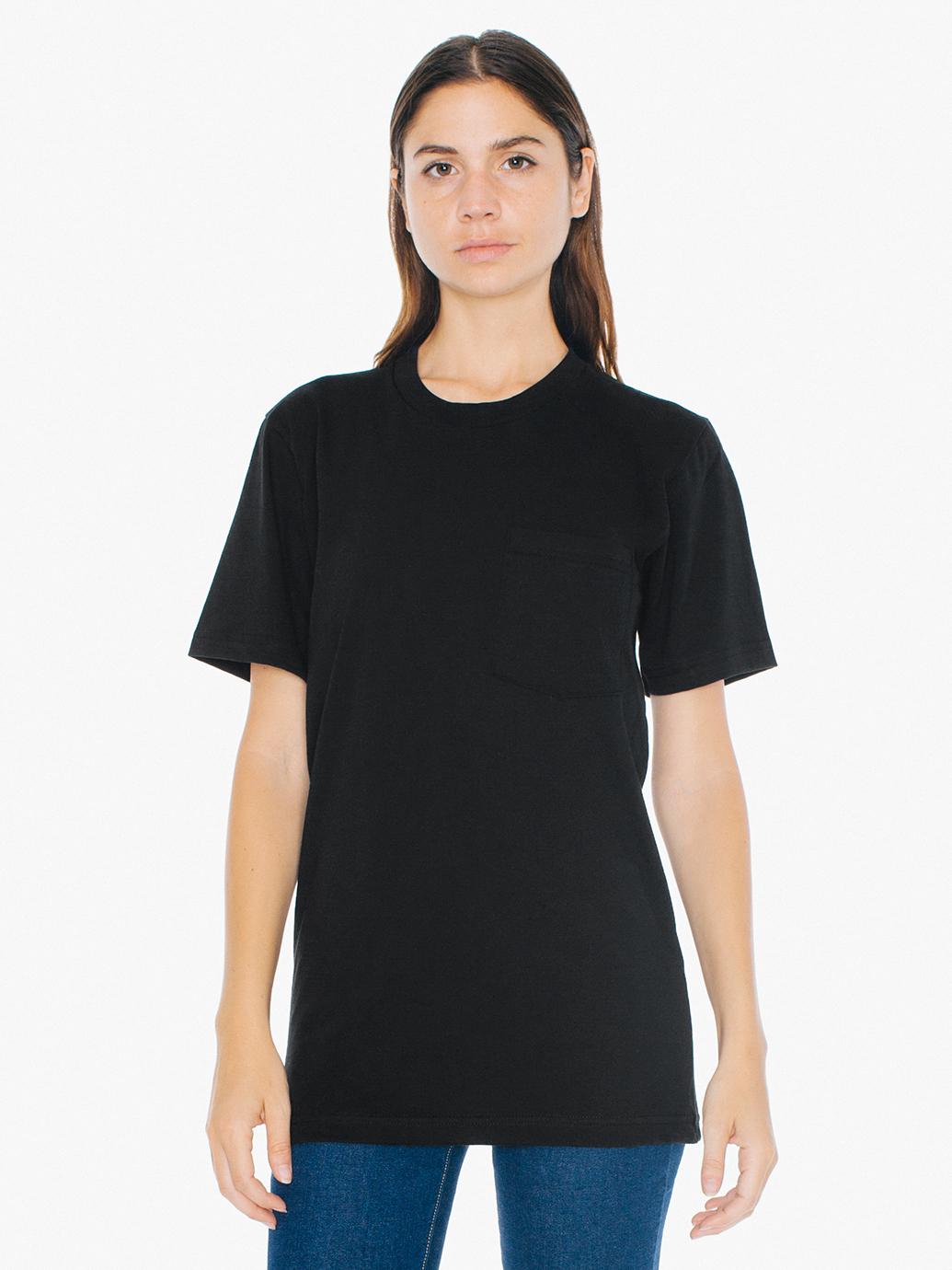 American apparel unisex fine jersey crewneck pocket t for American apparel fine jersey crewneck t shirt
