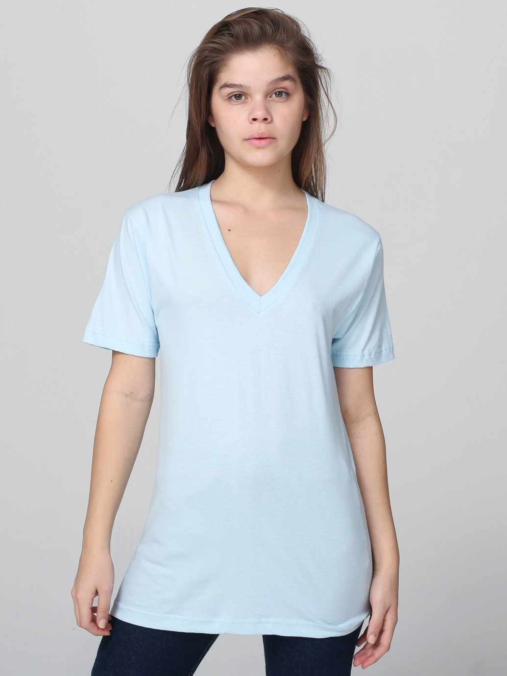 American Apparel Unisex Fine Jersey V Neck T Shirt In Blue
