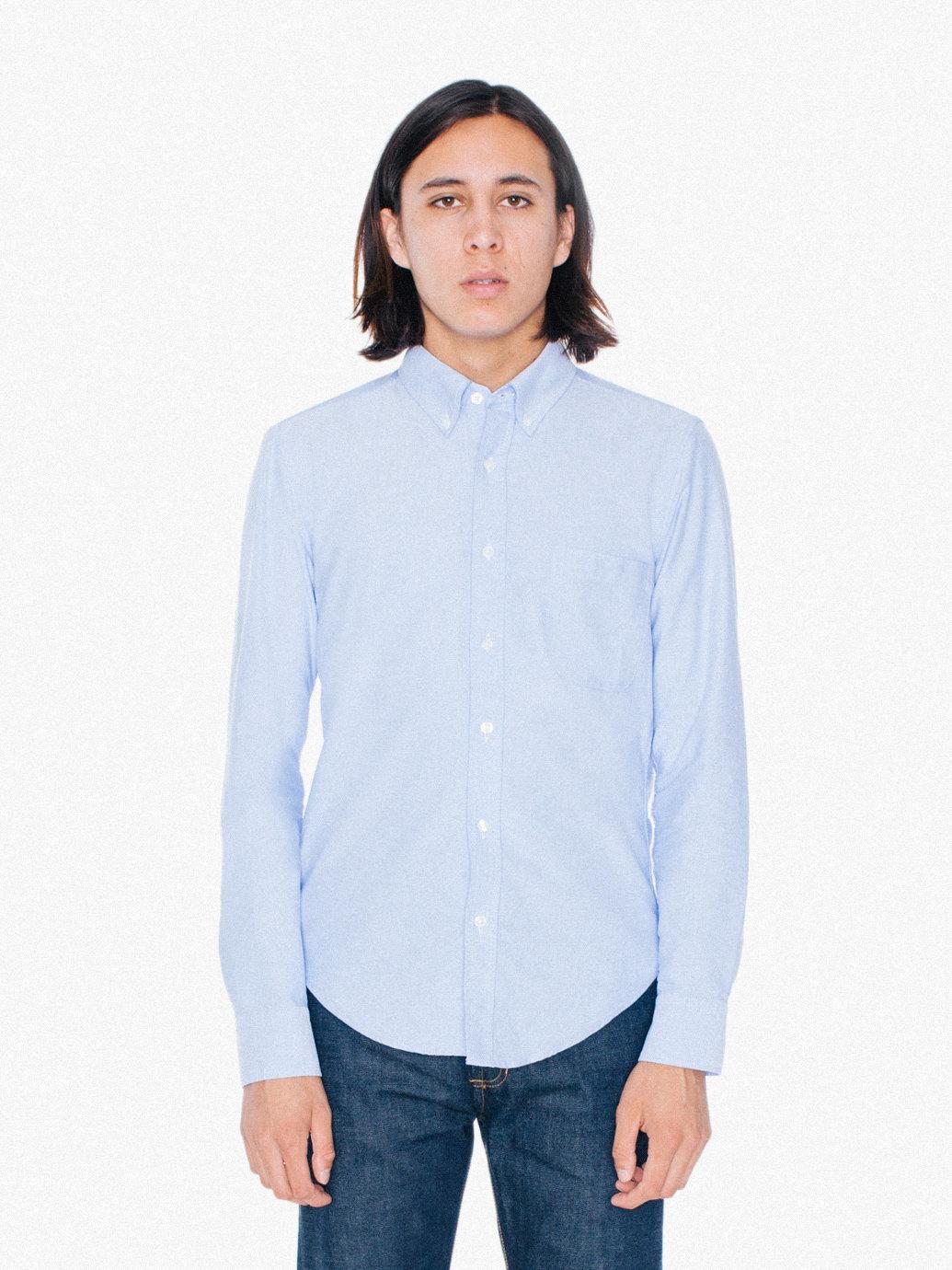 American Apparel Stone Wash Slim Fit Oxford Shirt In Blue