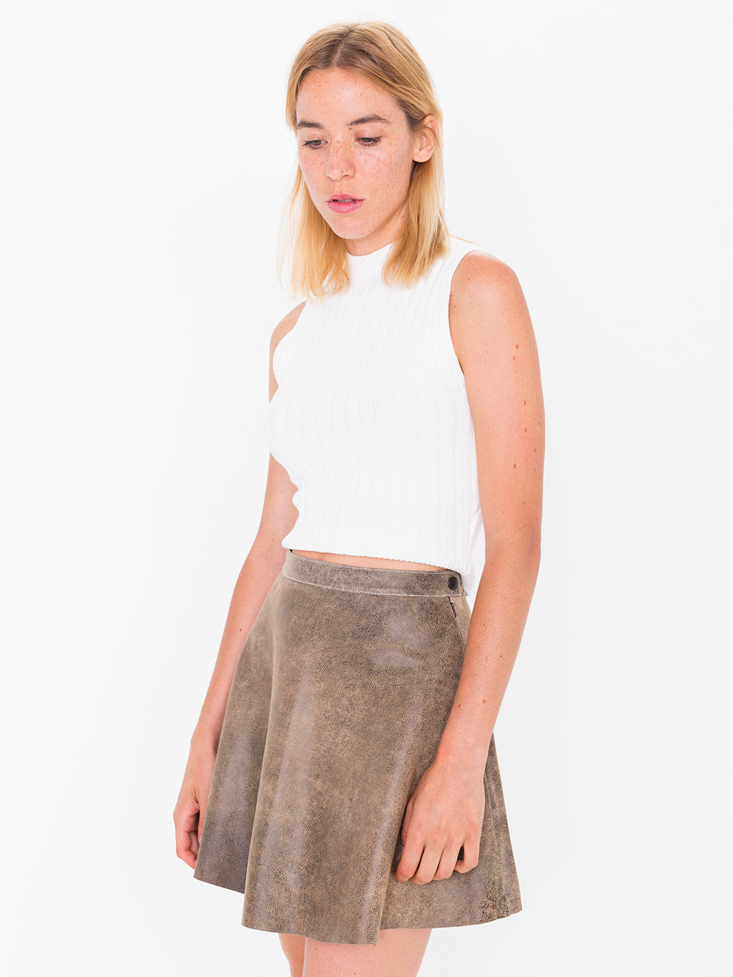 american apparel distressed lambskin leather circle skirt