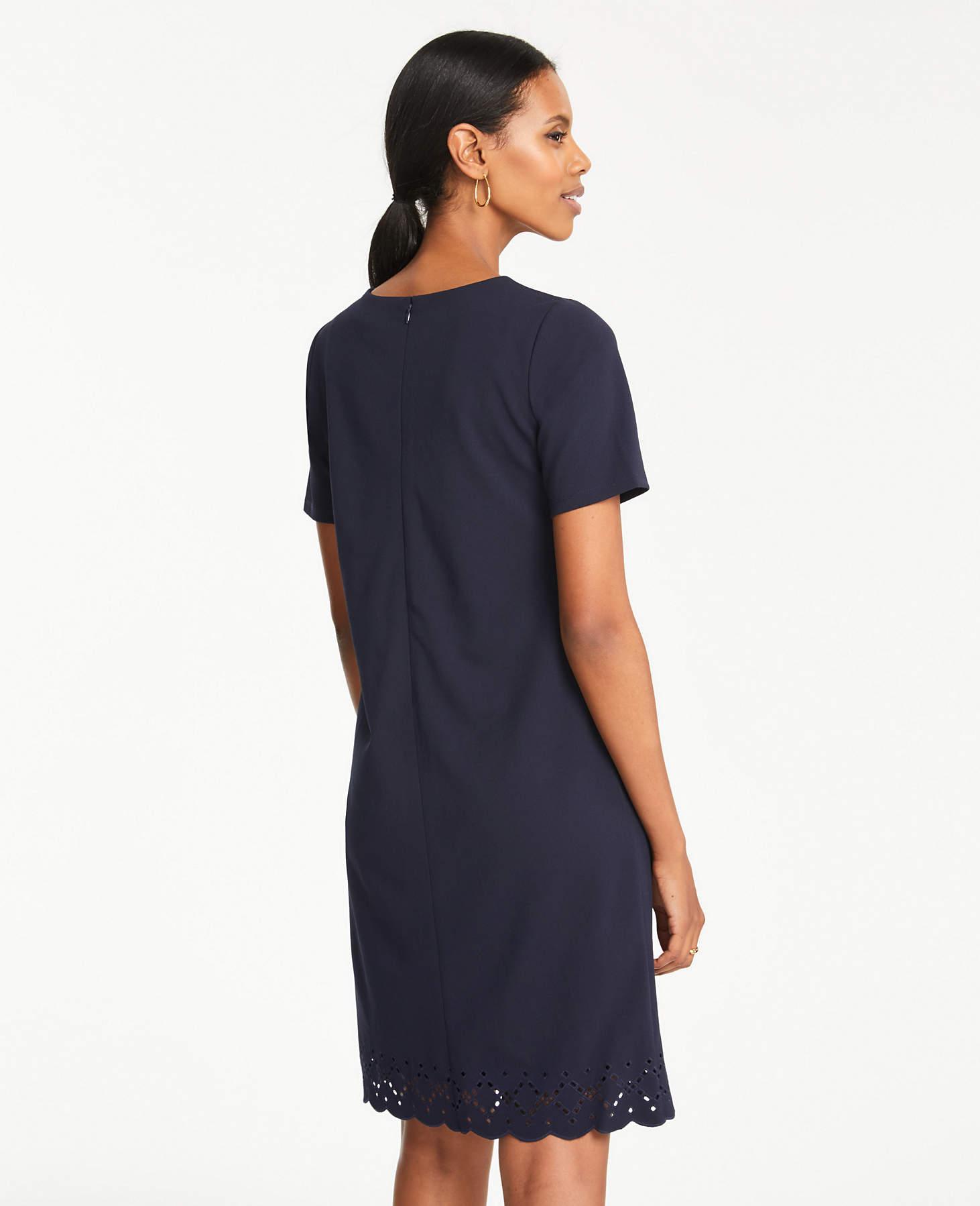 be65b75371bfe Lyst - Ann Taylor Petite Eyelet Hem T-shirt Shift Dress in Blue