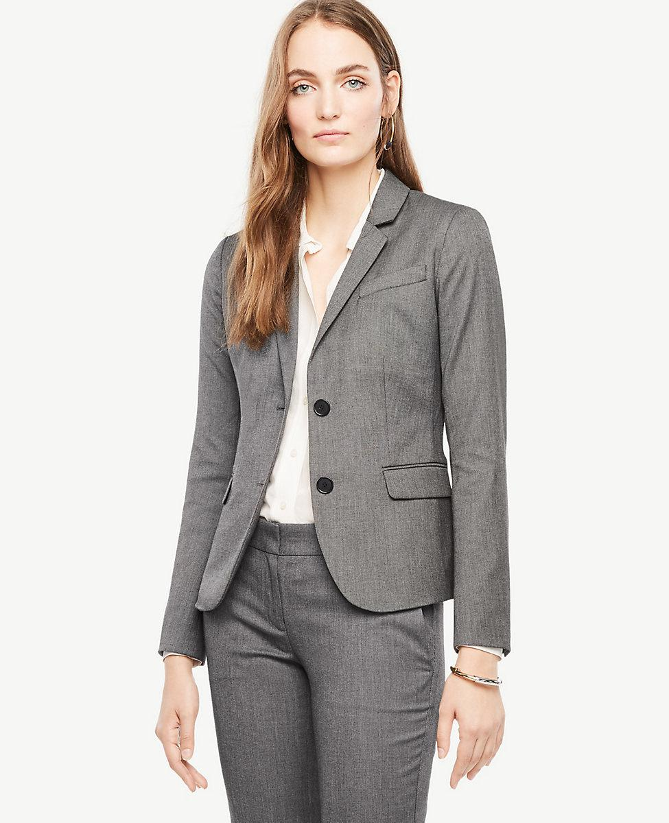 131ae9c2 Lyst - Ann Taylor Petite Sharkskin Two Button Jacket in Gray