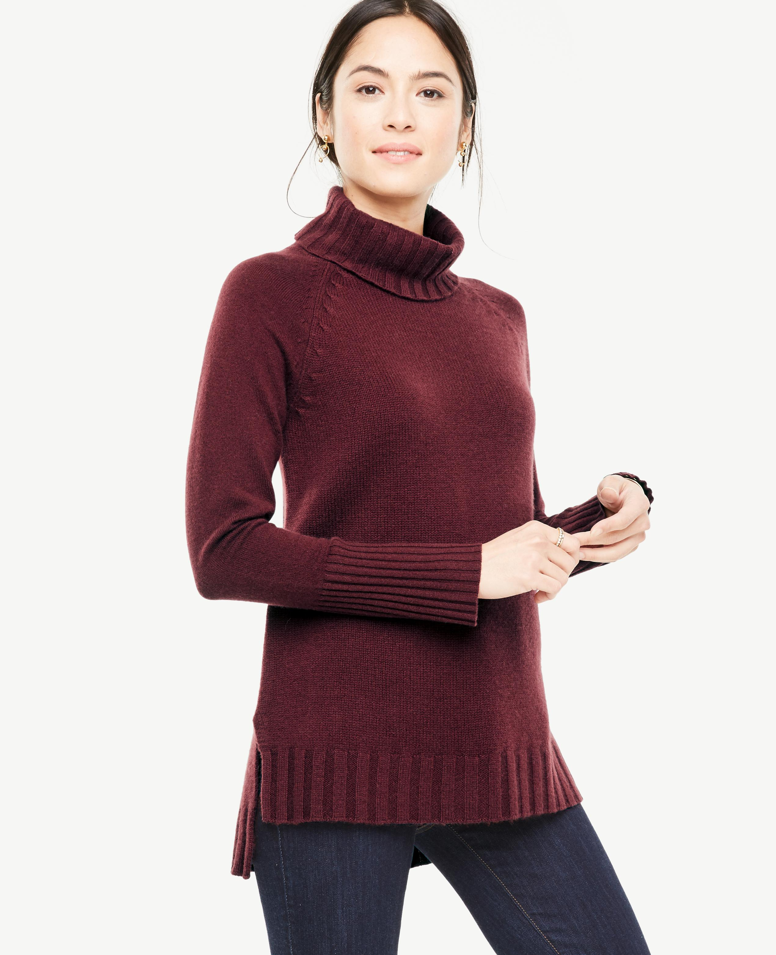 Ann taylor Cashmere Turtleneck Tunic Sweater in Red | Lyst