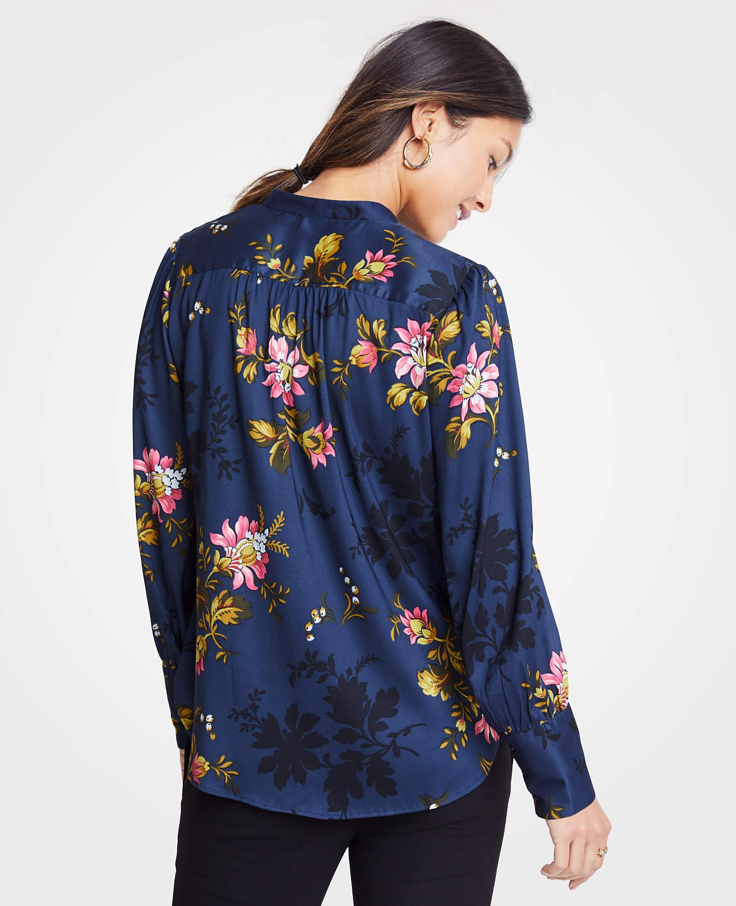 5fe2e067f Ann Taylor Petite Floral Shirred Button Down Blouse in Blue - Lyst