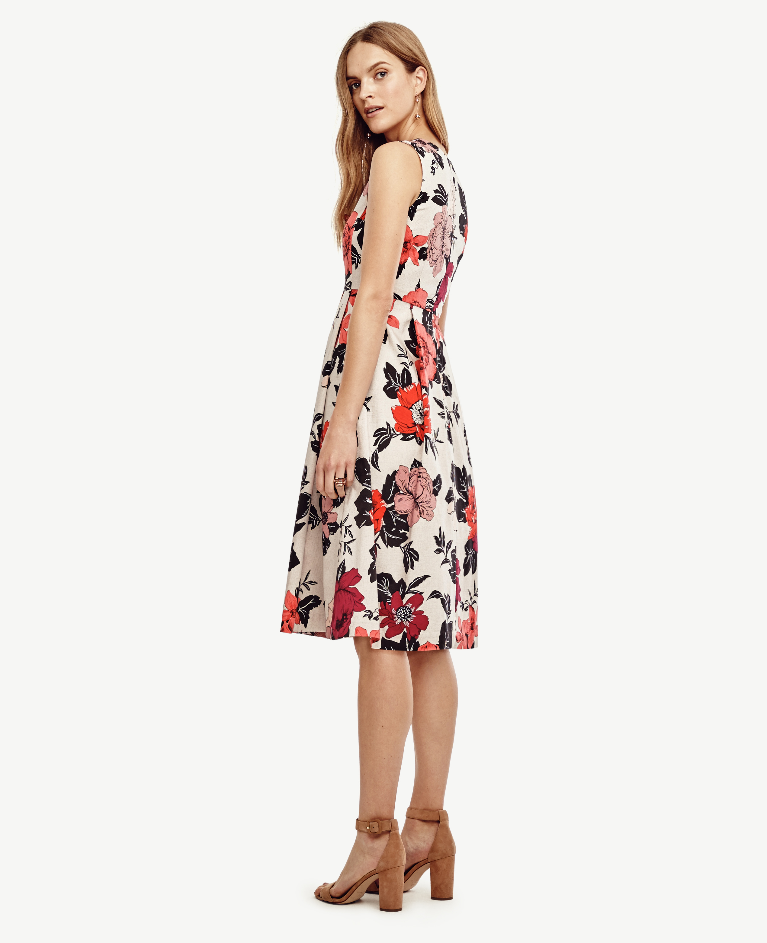 Ann Taylor Petite Sundrenched Floral Flare Dress In Red Lyst