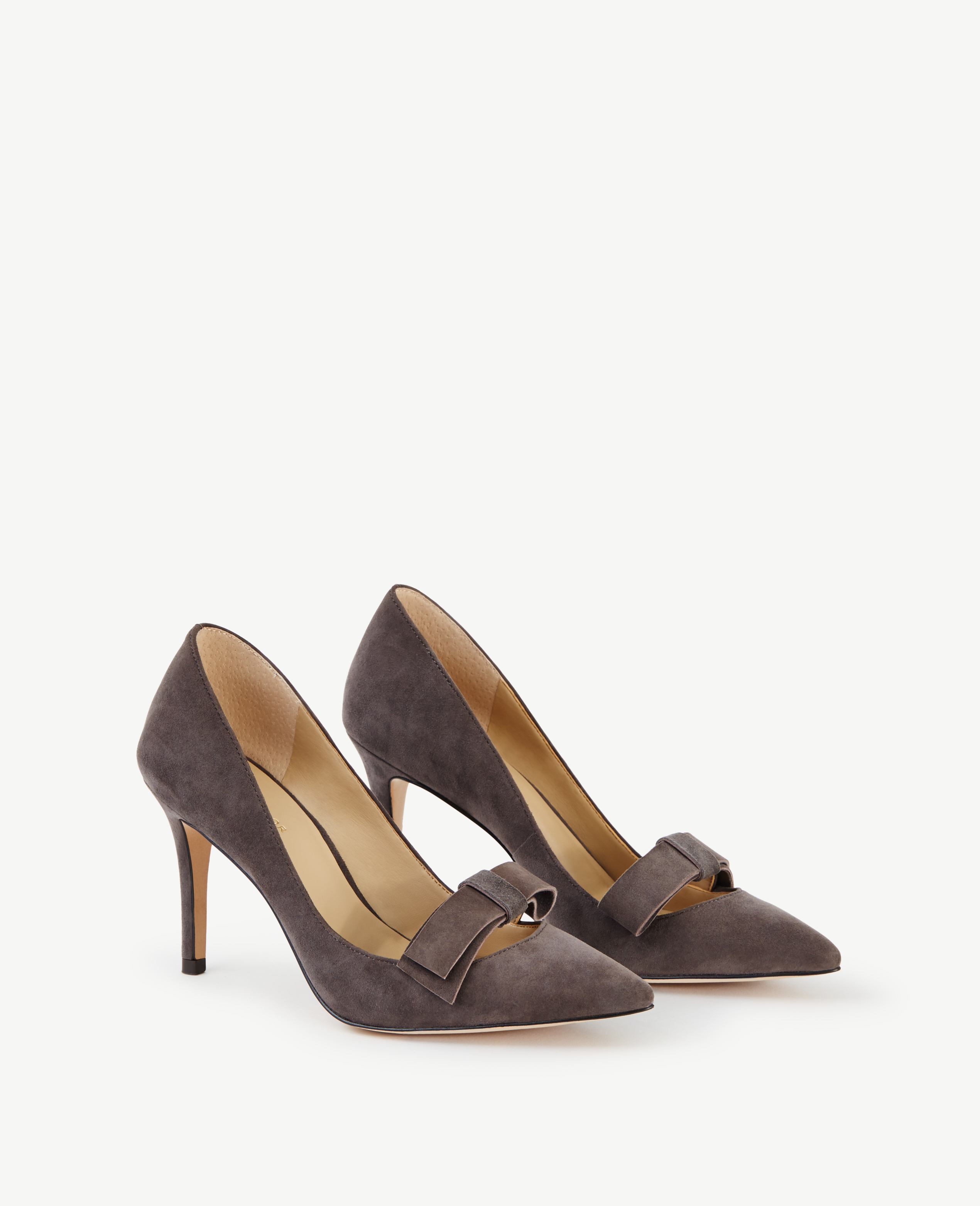 Lyst Ann Taylor Odette Suede Bow Pumps In Gray
