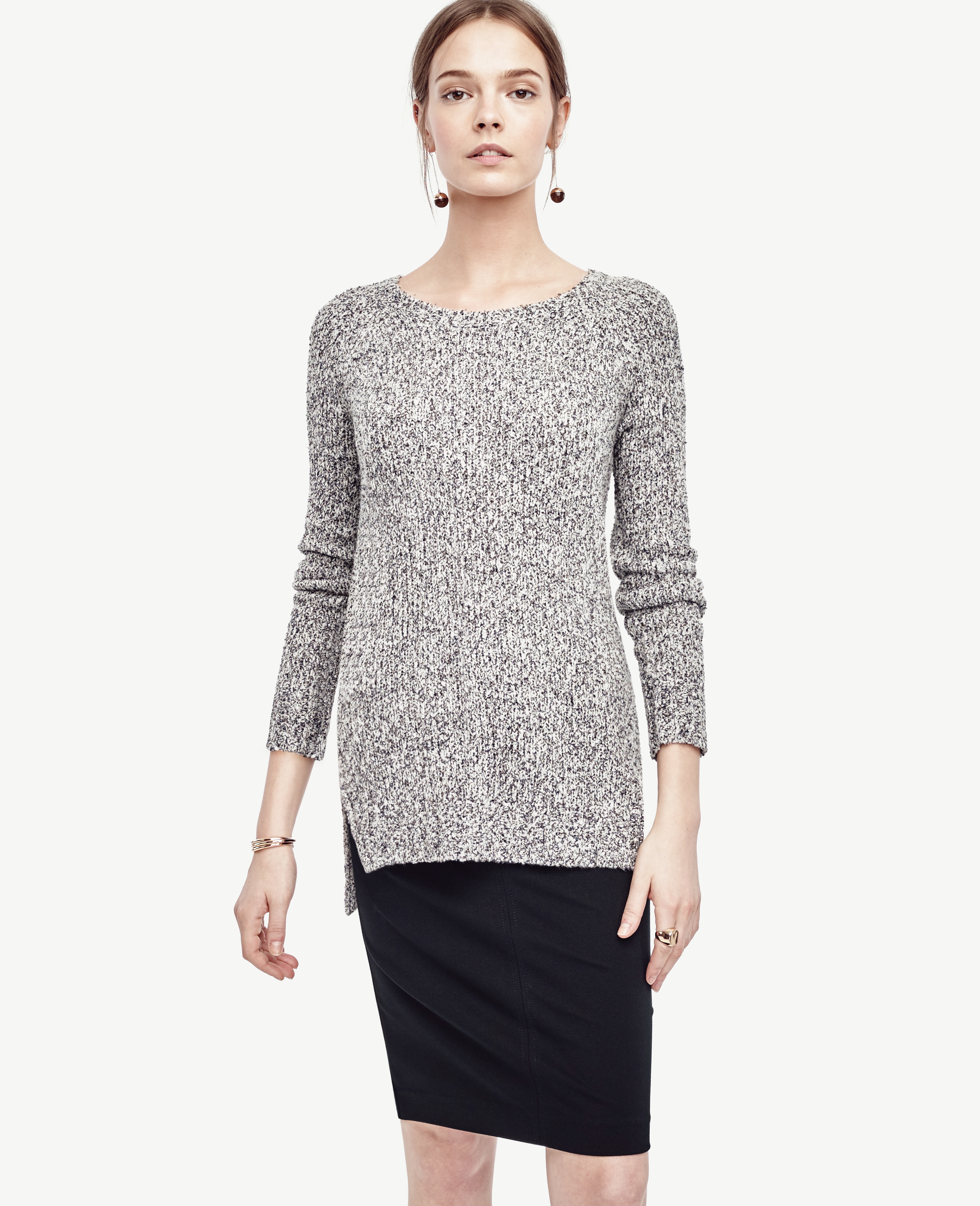 Ann taylor Marled Crew Neck Tunic Sweater in Gray | Lyst