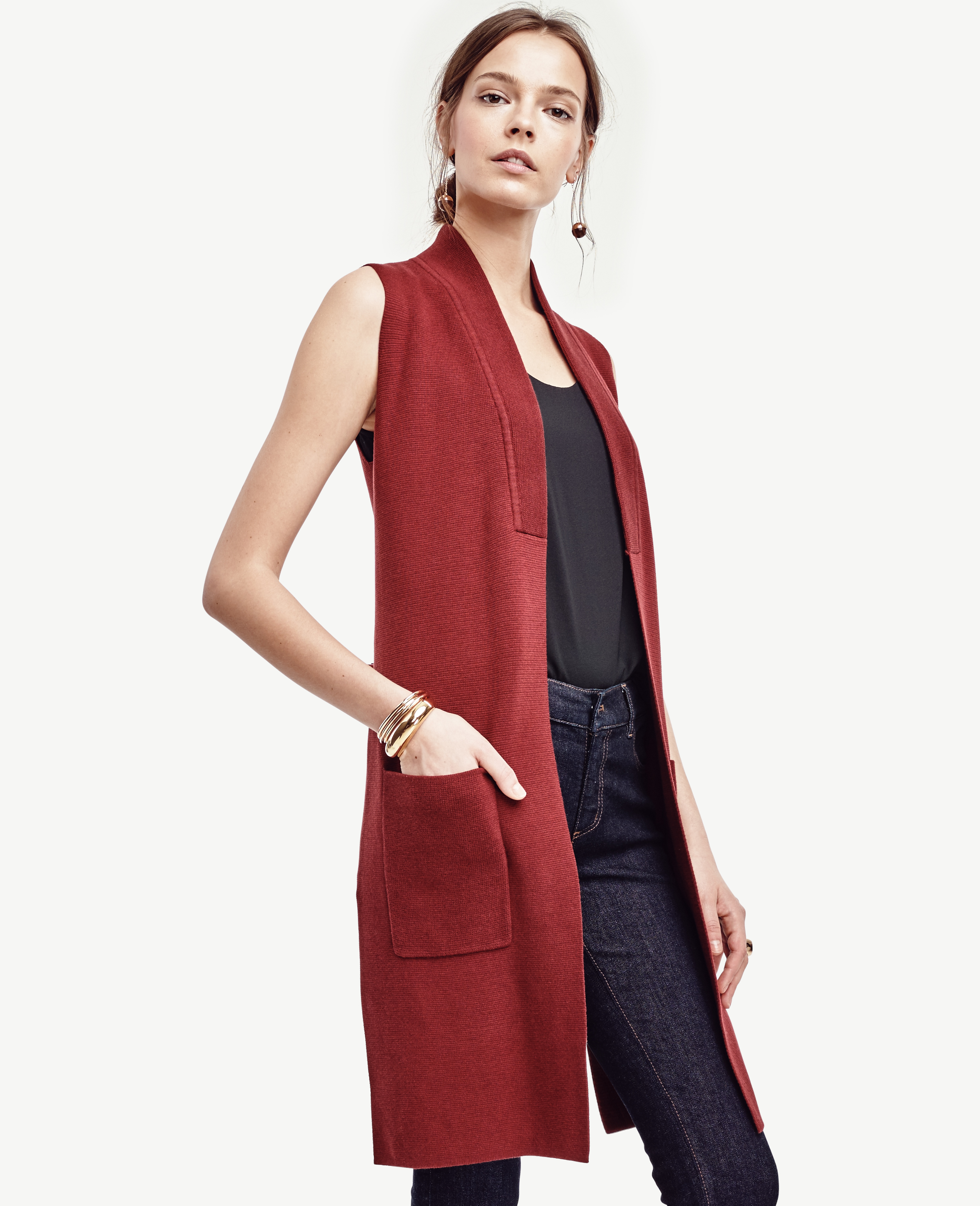 Ann taylor Sleeveless Sweater Vest in Red | Lyst