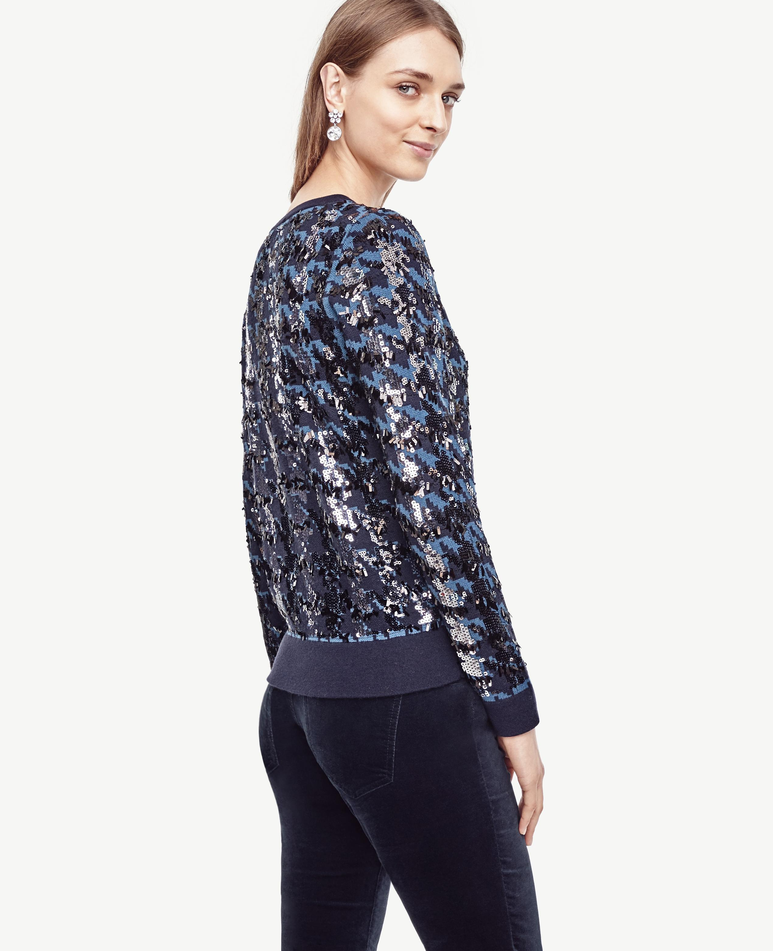 Lyst Ann Taylor Sequin Houndstooth Sweater In Blue