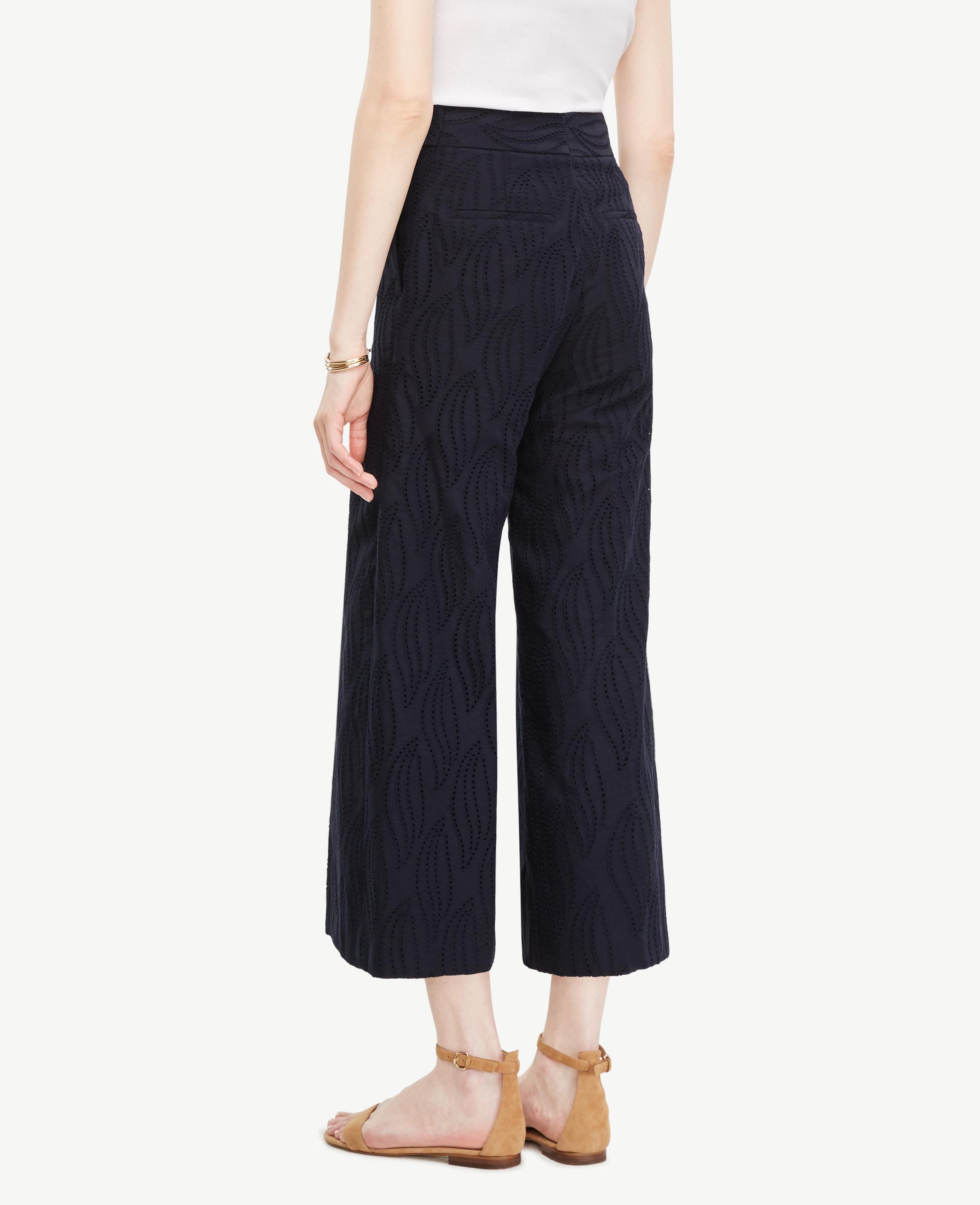Ann taylor the swirl eyelet wide leg marina pant in blue for Ann taylor loft fashion island