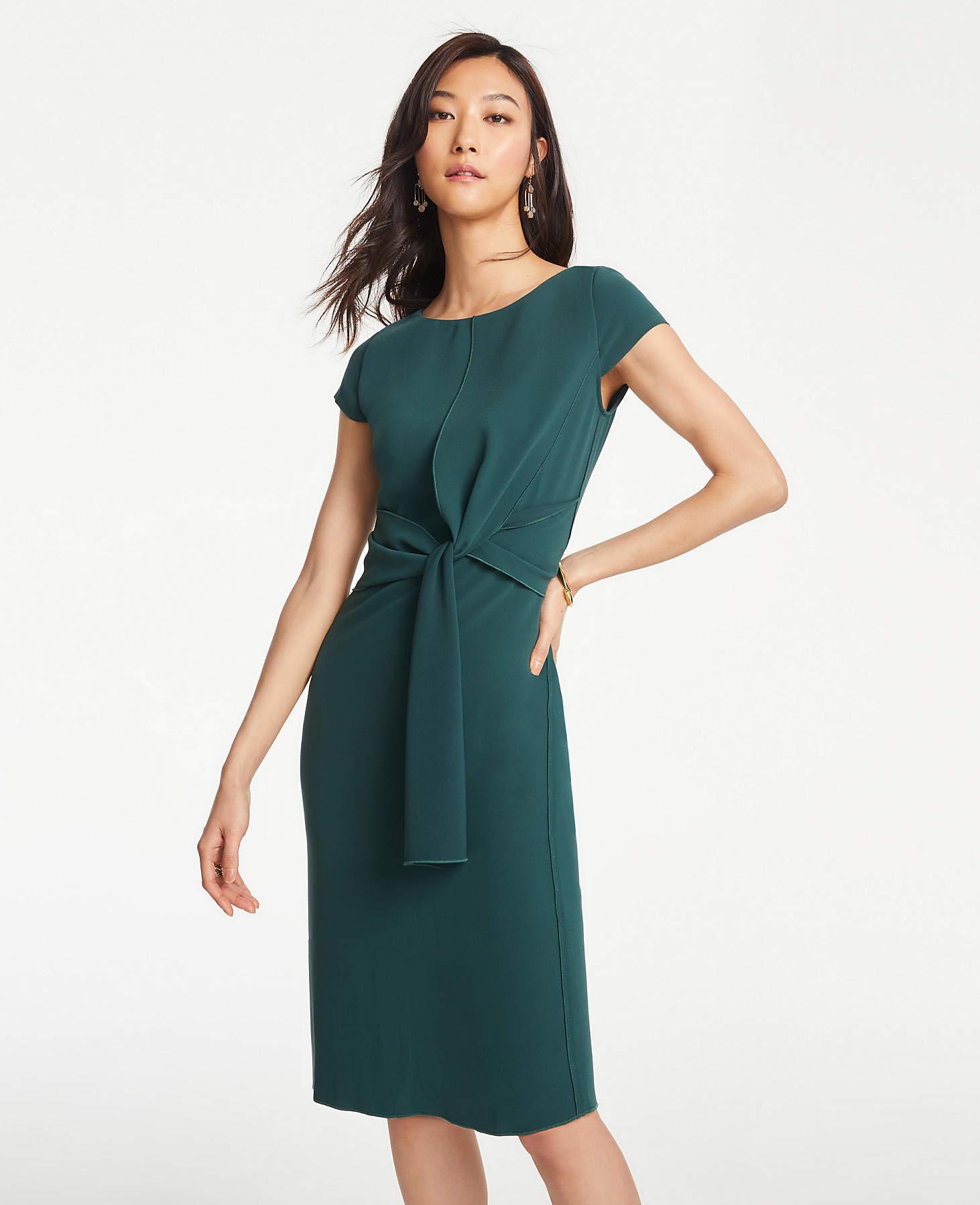 fb51652eb76 Lyst - Ann Taylor Petite Foldover Tie Waist Sheath Dress in Green