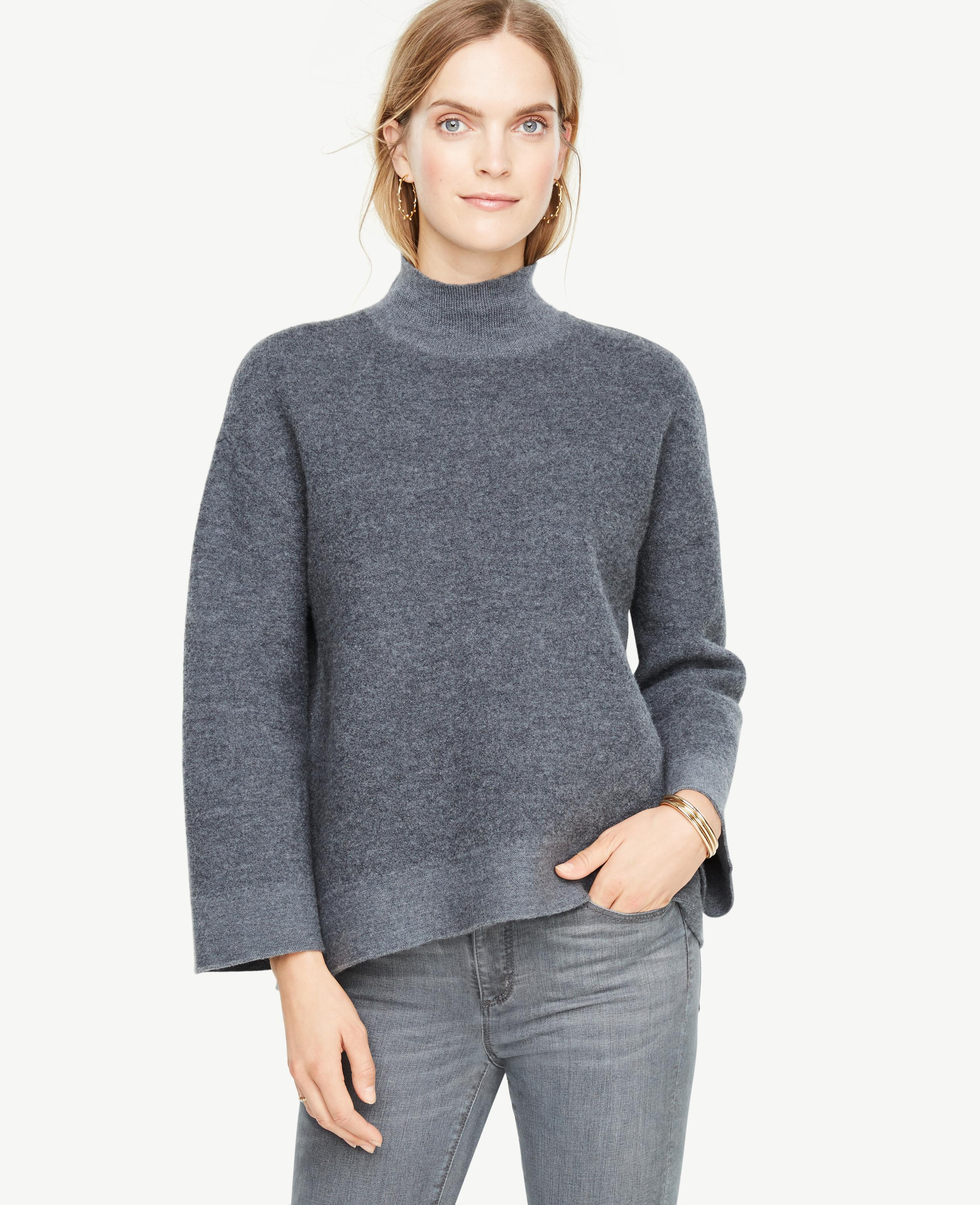 Ann taylor Boiled Wool Turtleneck Sweater in Gray | Lyst