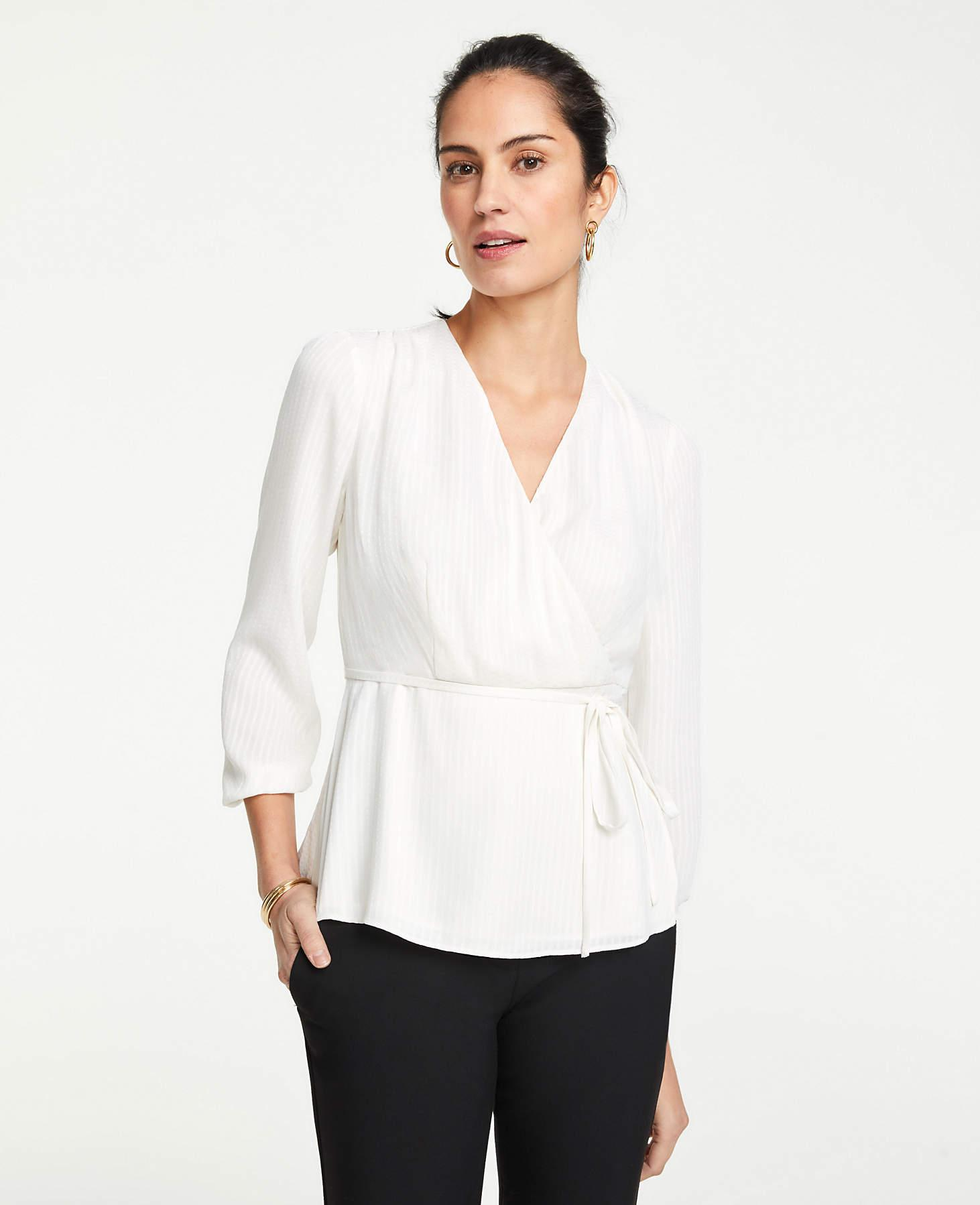 5bd47f8a4d1d Ann Taylor Textured Wrap Top in White - Lyst