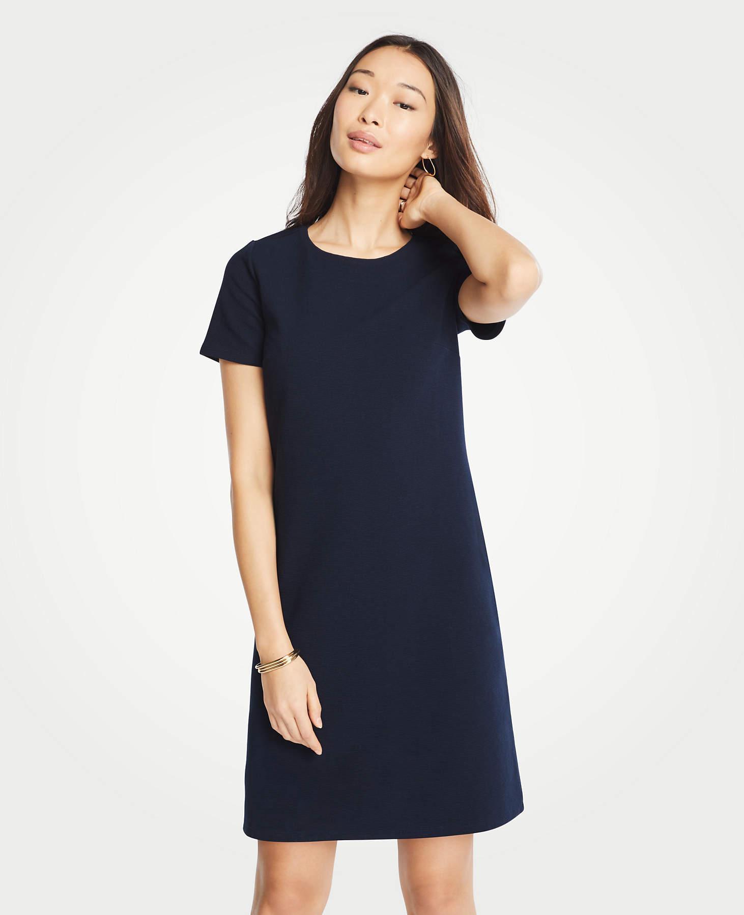 adcbcb8991d Ann Taylor Petite Short Sleeve Shift Dress in Blue - Lyst