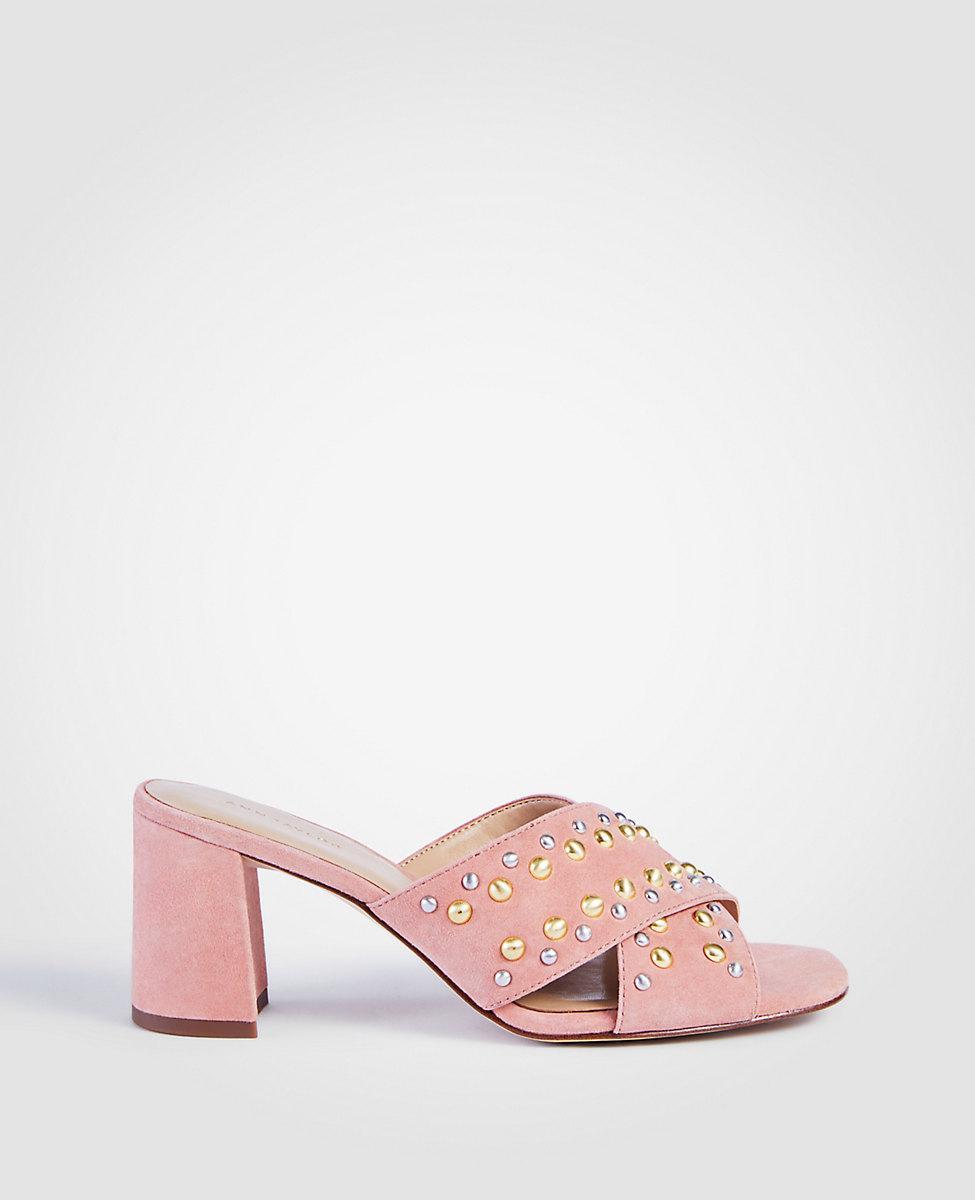 ANN TAYLOR Mariah Suede Studded Heeled Sandals vJOF8