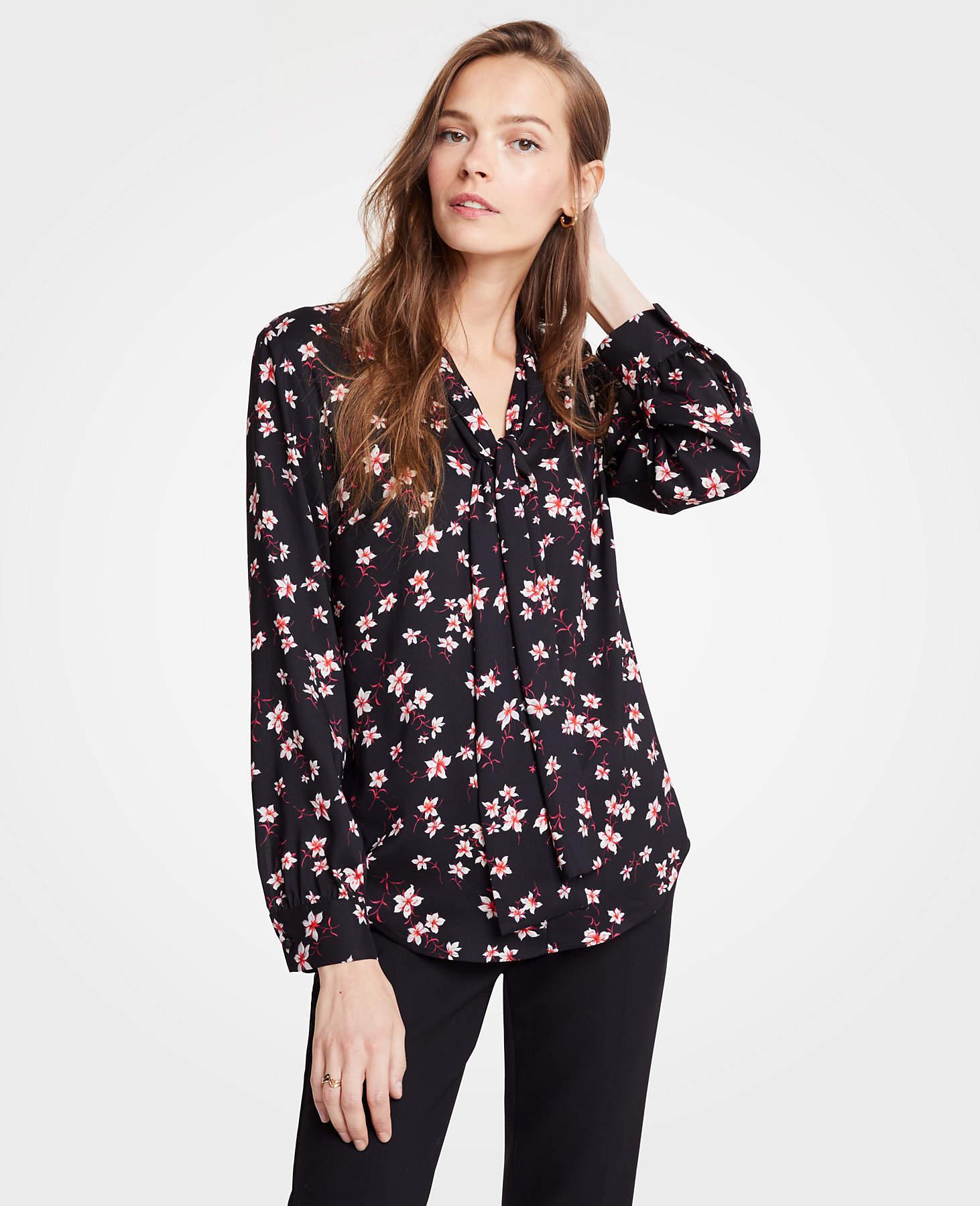 992de62e79125 Lyst - Ann Taylor Petite Romantic Flower V-neck Bow Blouse in Black