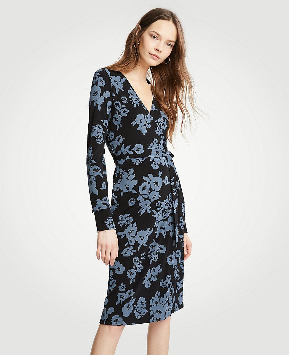 Lyst - Ann Taylor Winter Floral Button Cuff Wrap Dress in Black