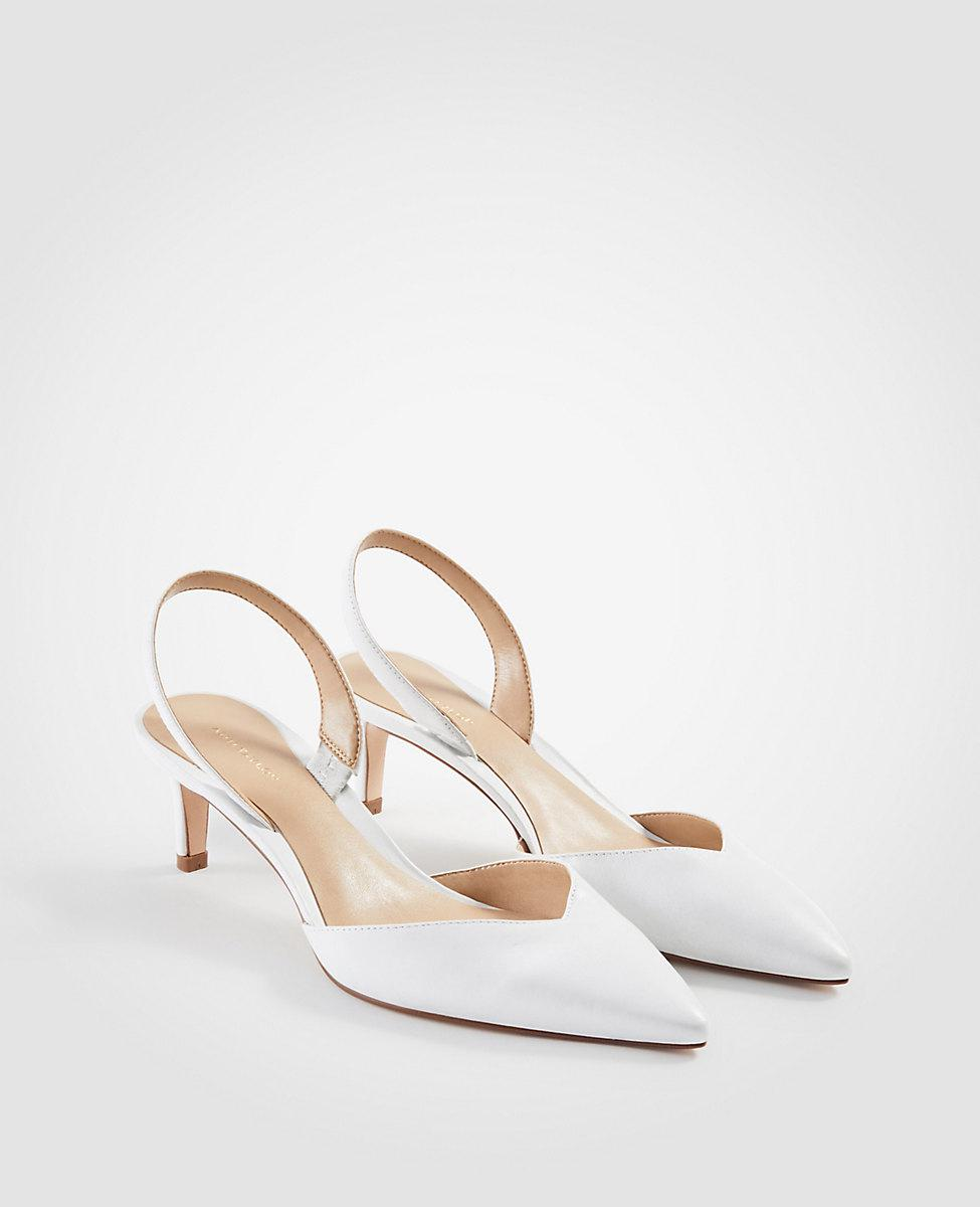 e1dc5faa0b Ann Taylor Elora Leather Slingback Pumps in White - Lyst