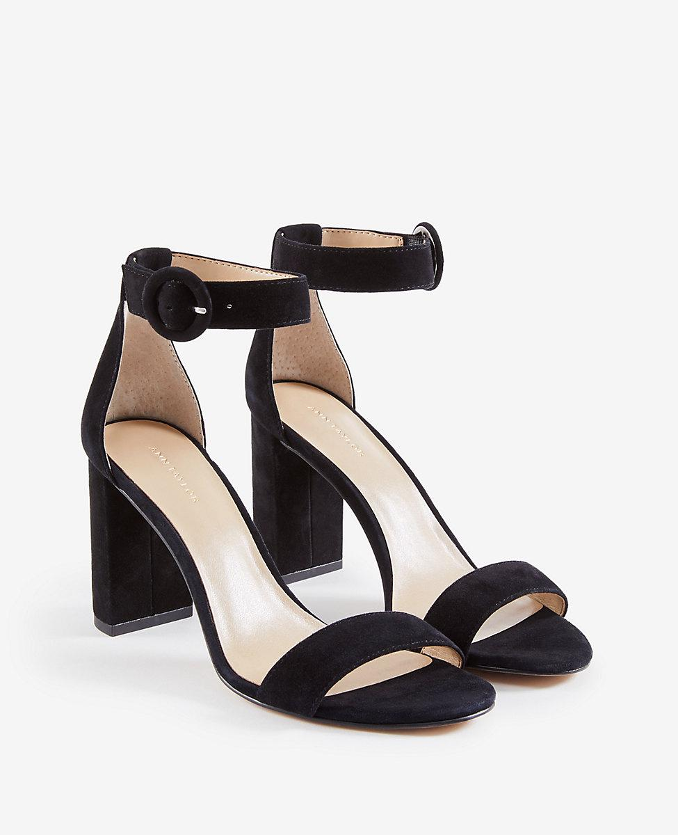 29c4d4e12f39d2 Lyst - Ann Taylor Leannette Suede Leather Block Heel Sandals in Black
