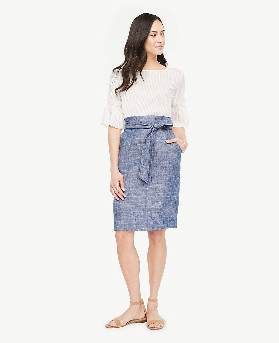 11791353e8 Ann Taylor Chambray Paper Bag Skirt in Blue - Lyst