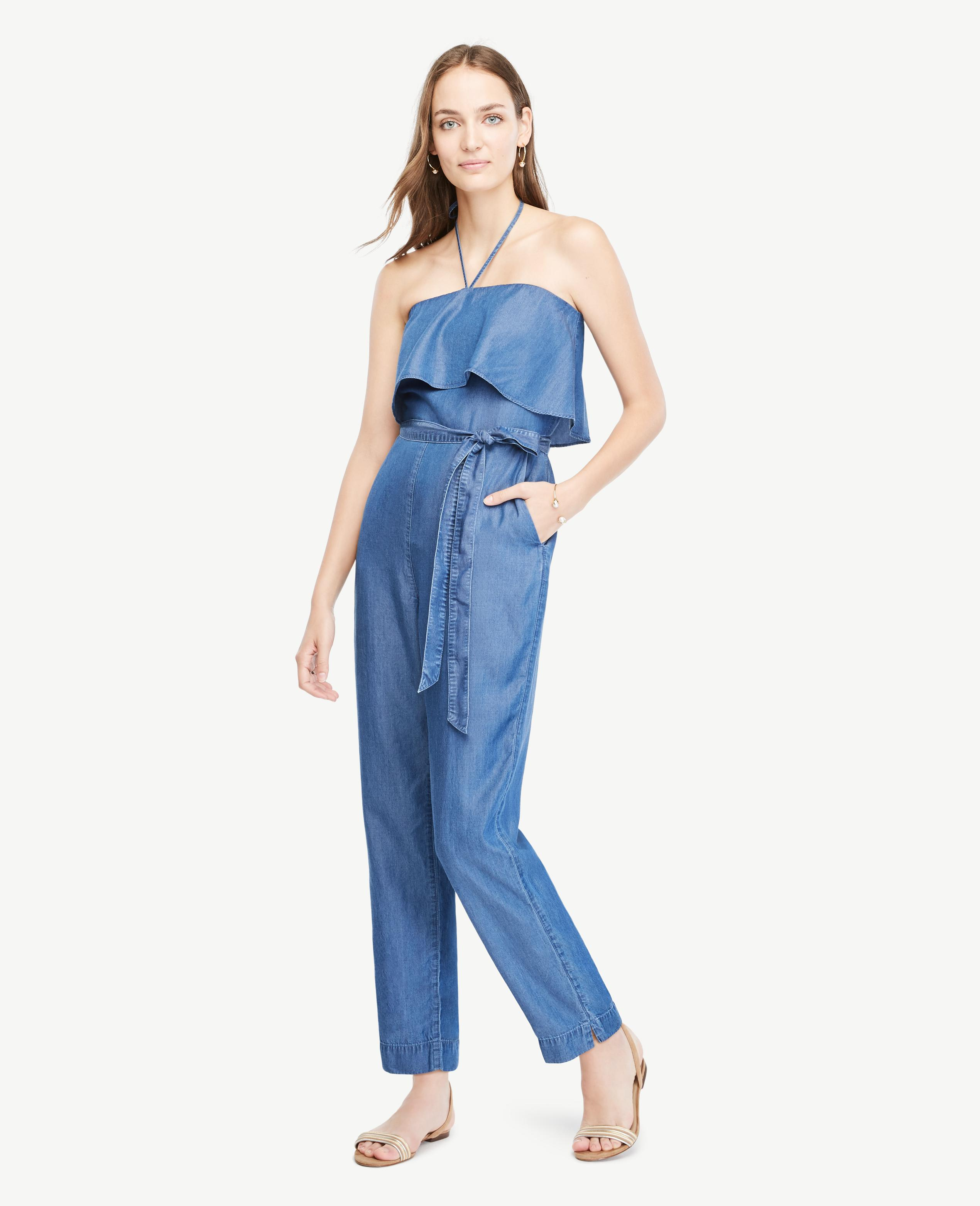 60918d85f20d Lyst - Ann Taylor Petite Chambray Halter Top Jumpsuit in Blue