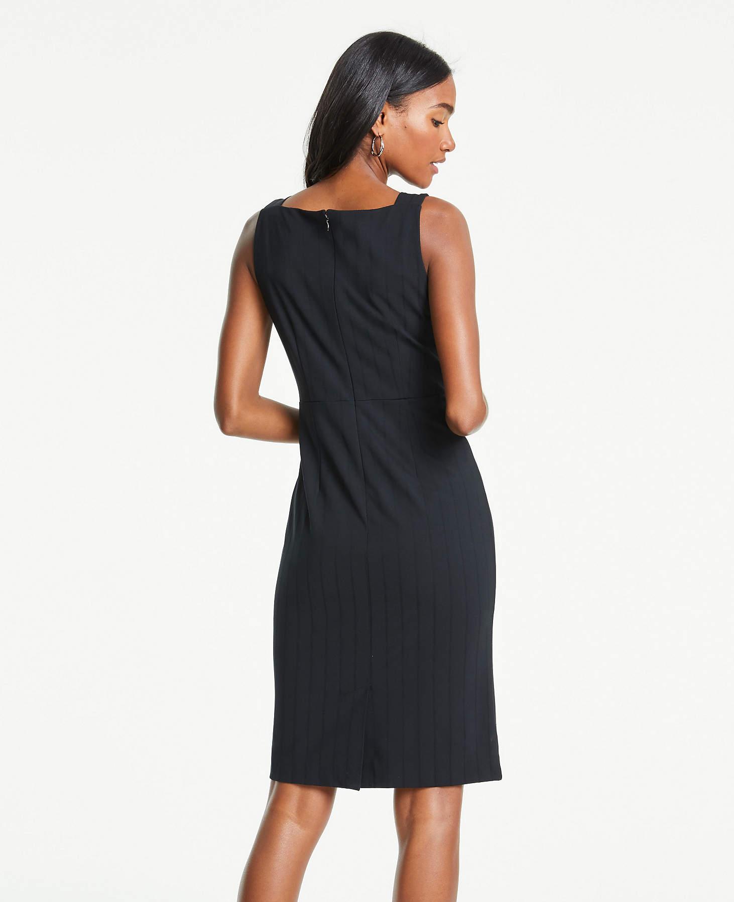 65fc9668d6b Lyst - Ann Taylor Striped Square Neck Sheath Dress in Black