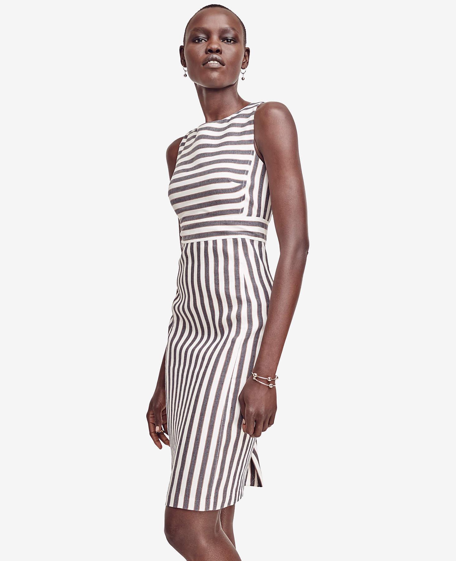 c1456921f1 Lyst - Ann Taylor Striped Linen Blend Sheath Dress in White