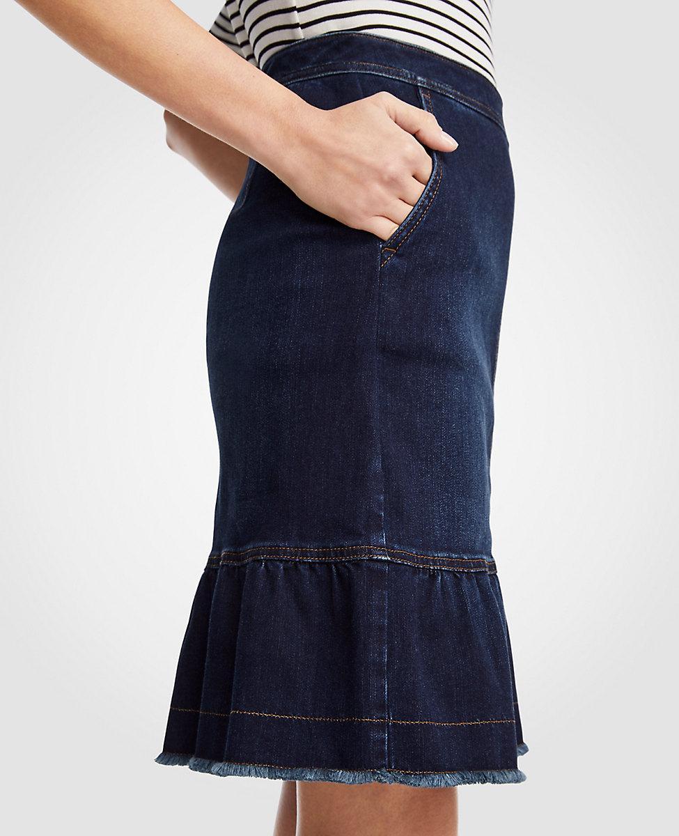 b84d876841 Ann Taylor Ruffle Denim Skirt in Blue - Lyst