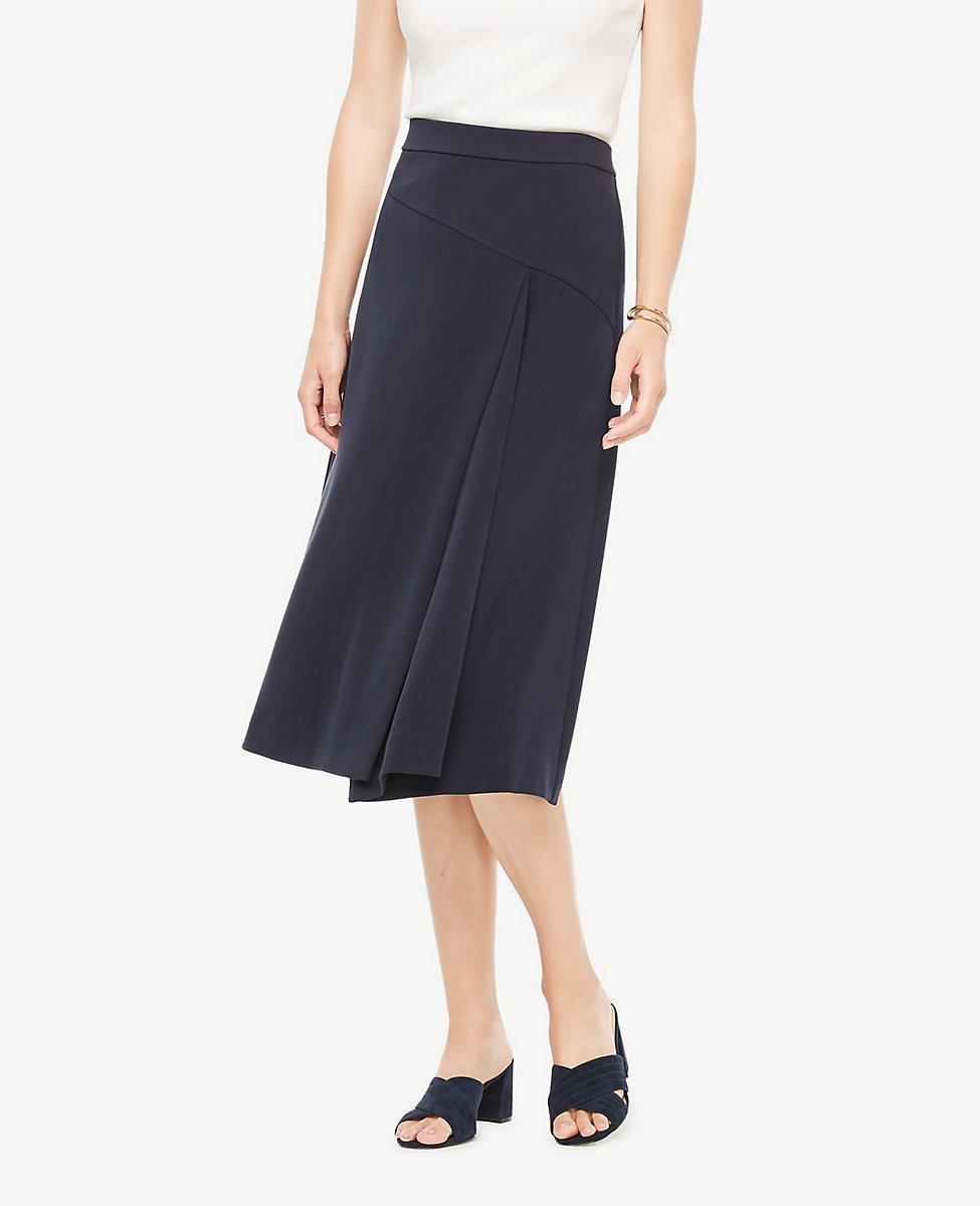 35666872f0 Ann Taylor Seamed Midi Skirt in Blue - Lyst