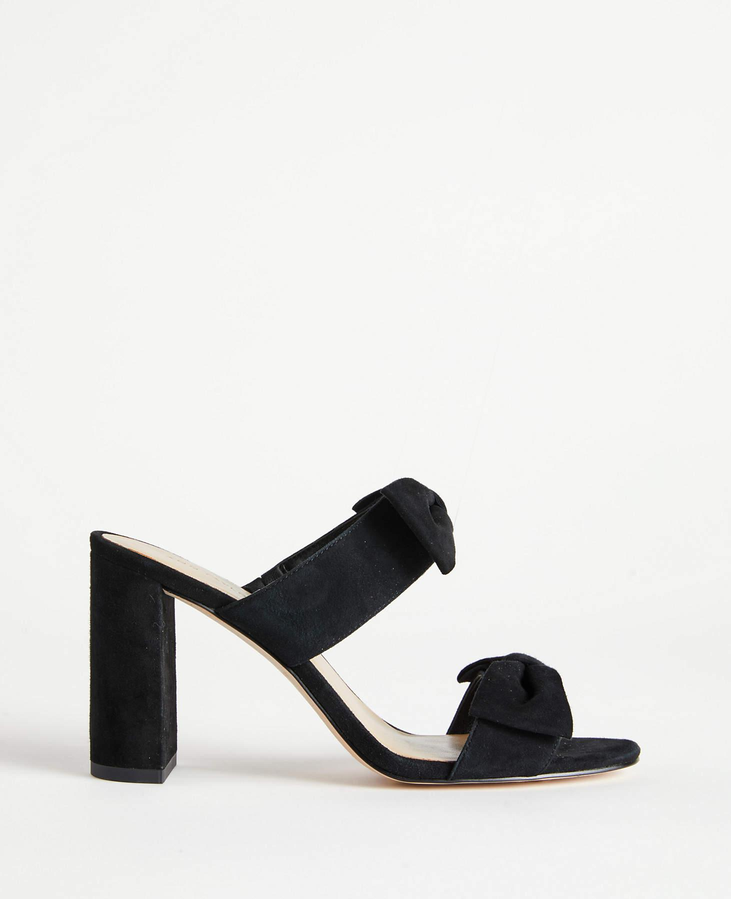 0cf0ac606d Ann Taylor Janie Suede Bow Heeled Sandals in Black - Lyst