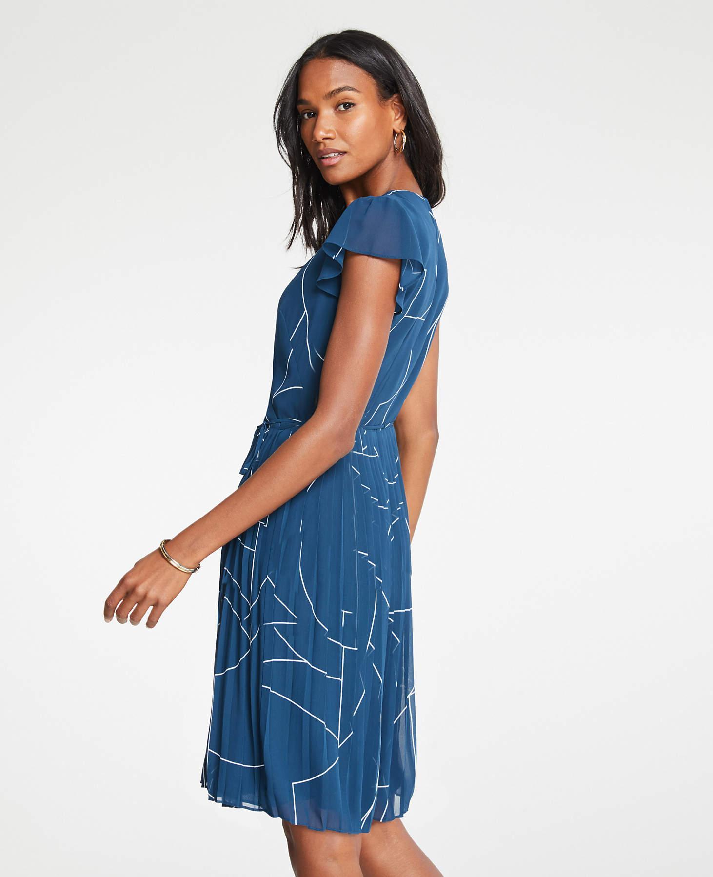 e7f486be1aec Lyst - Ann Taylor Geo Chiffon Wrap Dress in Blue